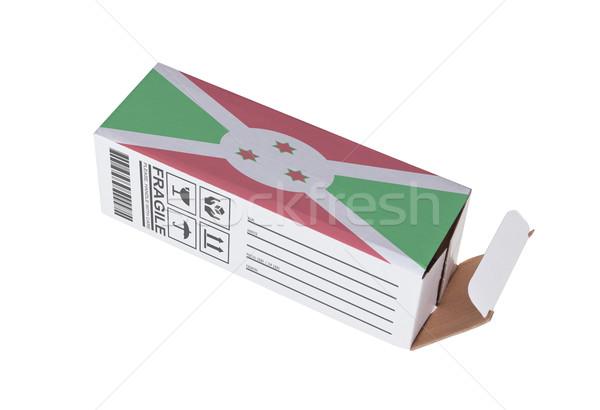 Foto stock: Exportar · produto · Burundi · papel · caixa