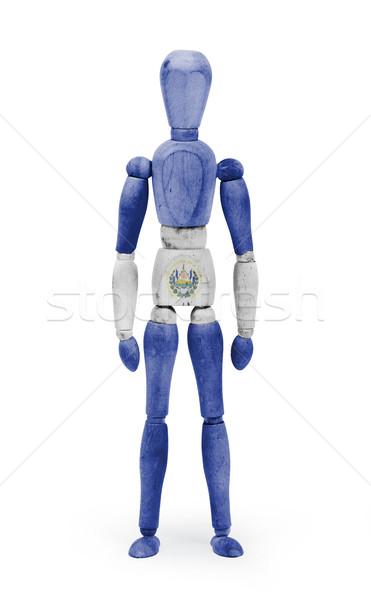 Wood figure mannequin with flag bodypaint - El Salvador Stock photo © michaklootwijk