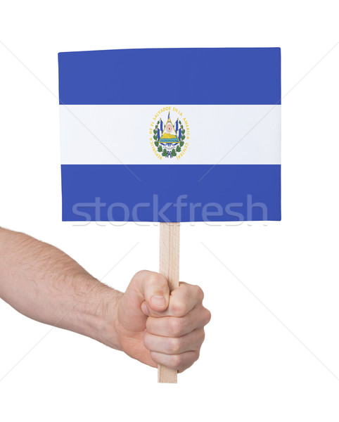 Hand holding small card - Flag of El Salvador Stock photo © michaklootwijk