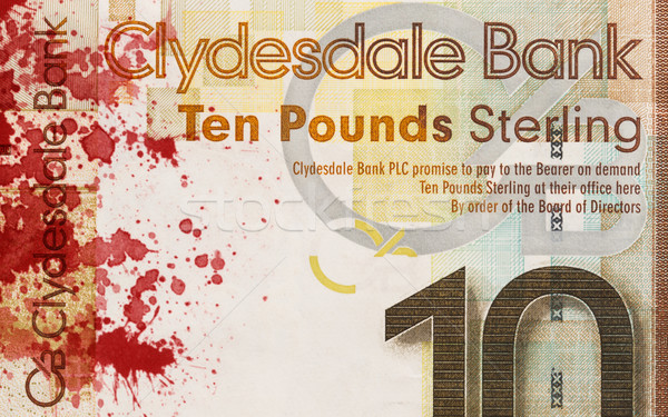 Stock photo: Scottish Banknote, 10 pounds, blood