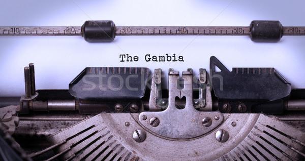 古い タイプライター ガンビア 碑文 ヴィンテージ 国 ストックフォト © michaklootwijk