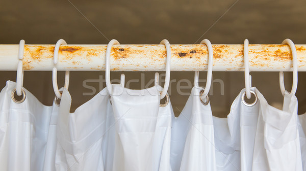 White shower curtain in the bathroom Stock photo © michaklootwijk