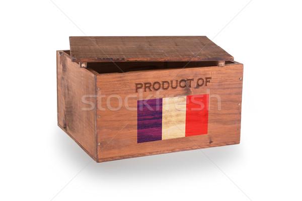 Stock fotó: Fából · készült · láda · izolált · fehér · termék · Franciaország
