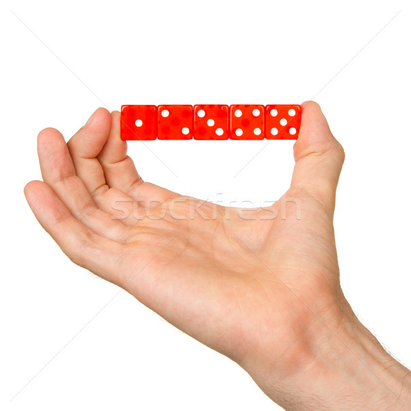 Man holding five red dice Stock photo © michaklootwijk