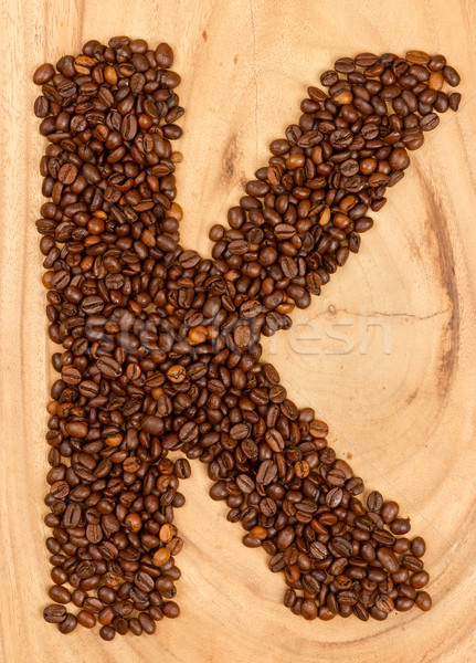 Letter K, alphabet from coffee beans Stock photo © michaklootwijk