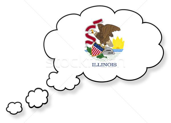 Bayrak bulut yalıtılmış beyaz Illinois sanat Stok fotoğraf © michaklootwijk