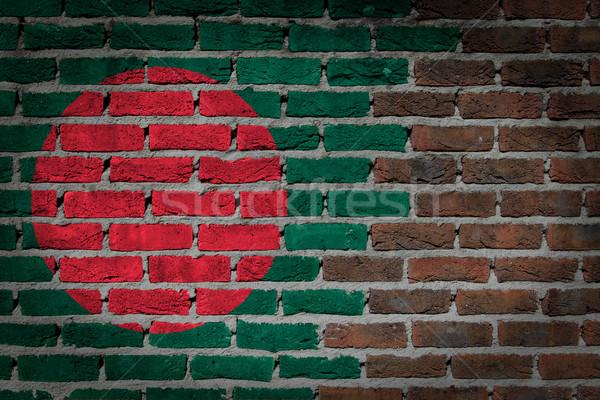 Escuro parede de tijolos Bangladesh textura bandeira pintado Foto stock © michaklootwijk