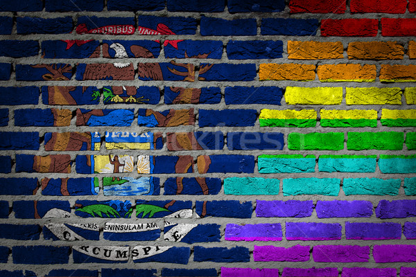 Escuro parede de tijolos direitos Michigan textura bandeira Foto stock © michaklootwijk