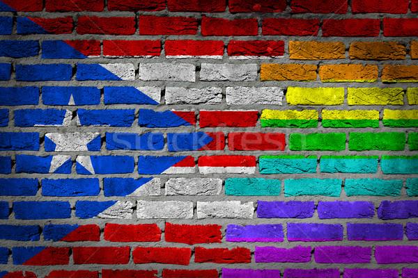 Donkere muur rechten Puerto Rico textuur vlag Stockfoto © michaklootwijk