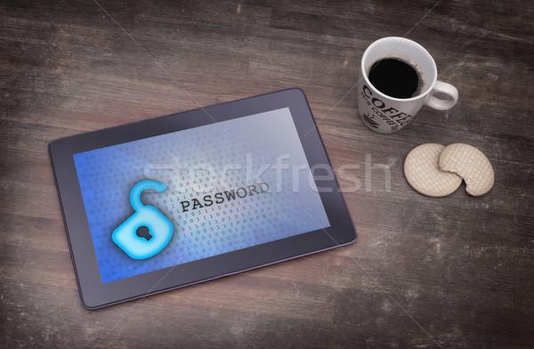 Tablet bureau gegevensbescherming Blauw computer technologie Stockfoto © michaklootwijk