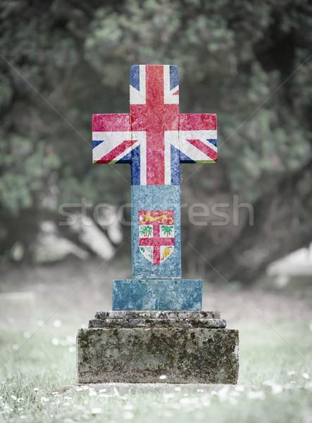 Lápide cemitério Fiji velho resistiu grama Foto stock © michaklootwijk