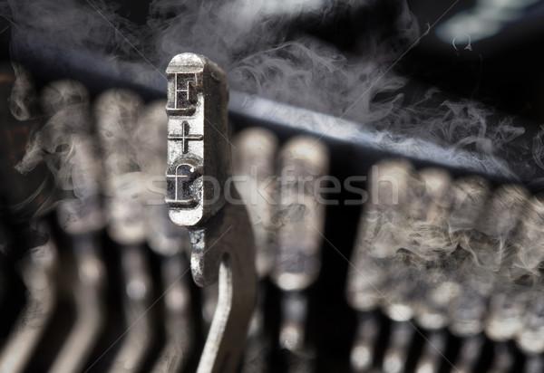 ハンマー 古い マニュアル タイプライター 謎 煙 ストックフォト © michaklootwijk