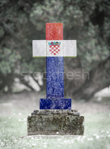 Lápide cemitério Croácia velho resistiu grama Foto stock © michaklootwijk