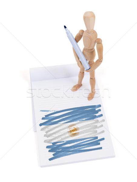 Fából készült próbababa rajz Argentína zászló papír Stock fotó © michaklootwijk