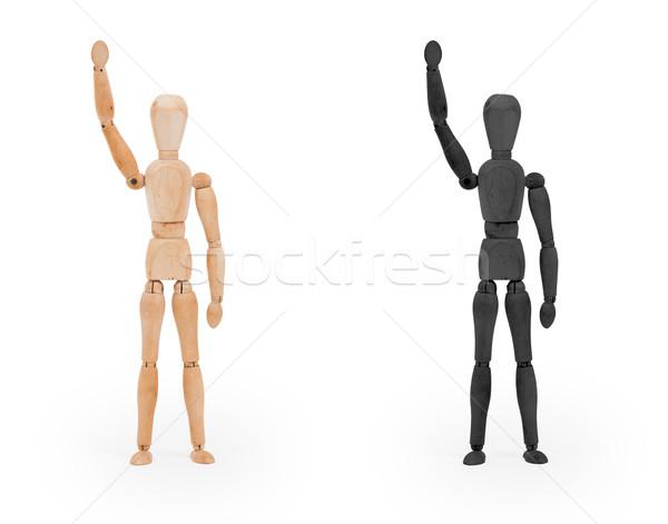 Hout cijfer etalagepop zwart wit geïsoleerd man Stockfoto © michaklootwijk