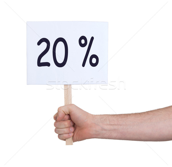 Sale - Hand holding sigh that says 20% Stock photo © michaklootwijk