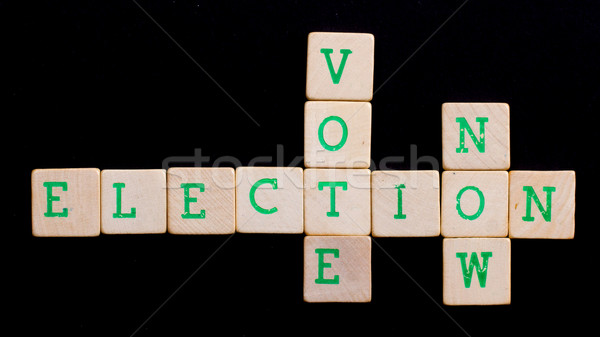 Stock photo: Letters on wooden blocks (vote, election, now)