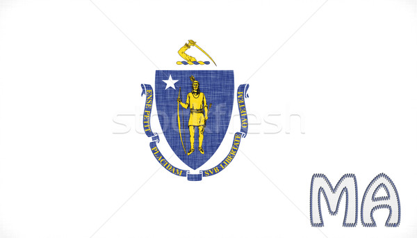 Vászon zászló Massachusetts rövidítés csillag szövet Stock fotó © michaklootwijk