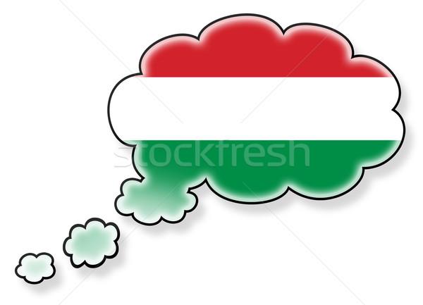 Bayrak bulut yalıtılmış beyaz Macaristan sanat Stok fotoğraf © michaklootwijk