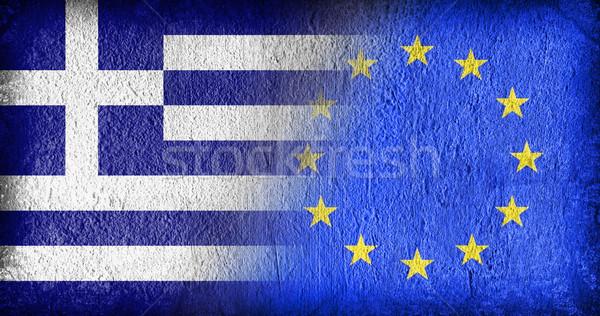 Grecia ue banderas pintado agrietado concretas Foto stock © michaklootwijk