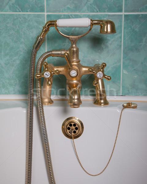 Vintage bad gouden tik groene muur Stockfoto © michaklootwijk