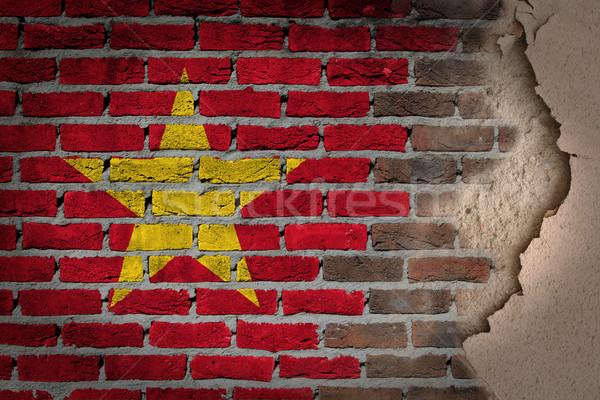 Foto stock: Oscuro · pared · de · ladrillo · yeso · Vietnam · textura · bandera