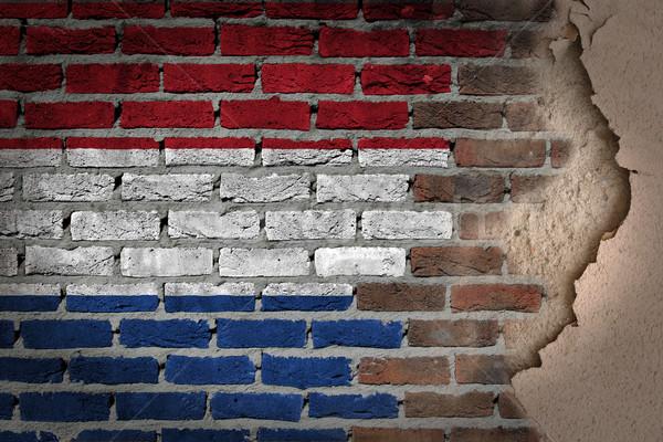 暗い レンガの壁 石膏 オランダ テクスチャ フラグ ストックフォト © michaklootwijk