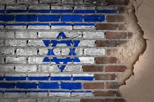Sötét téglafal tapasz Izrael textúra zászló Stock fotó © michaklootwijk