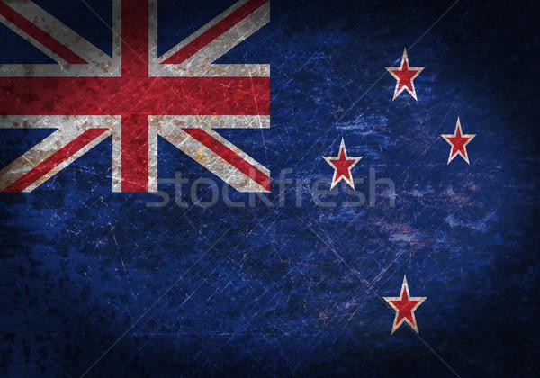 Stok fotoğraf: Eski · paslı · Metal · imzalamak · bayrak · Yeni · Zelanda