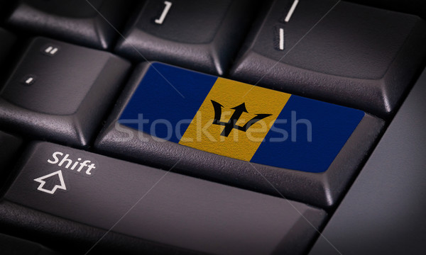 Vlag toetsenbord knop Barbados ontwerp laptop Stockfoto © michaklootwijk