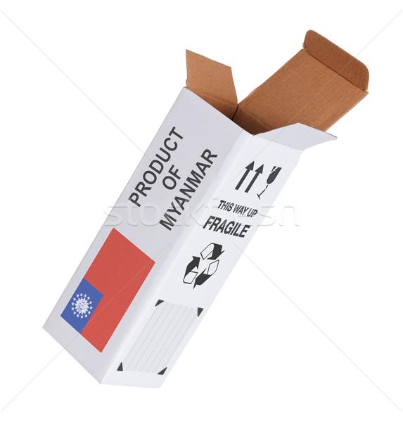 Exportar produto Mianmar papel caixa Foto stock © michaklootwijk