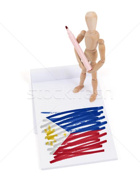 Houten etalagepop tekening Filippijnen vlag papier Stockfoto © michaklootwijk
