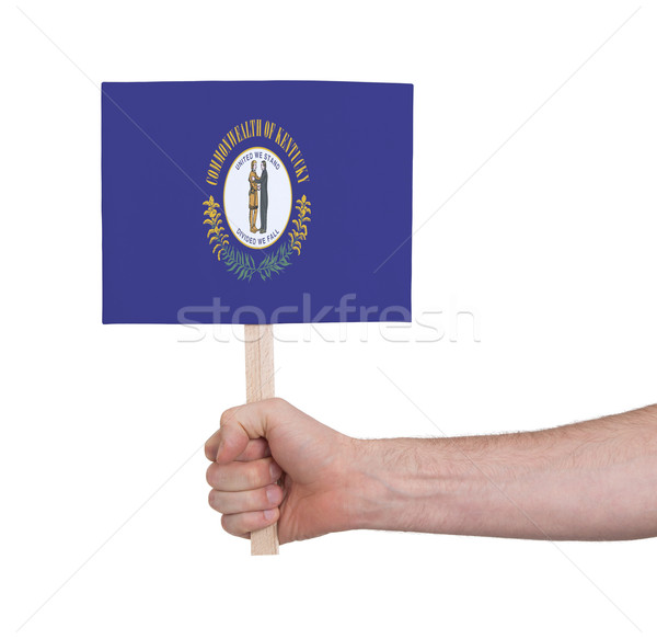 Hand holding small card - Flag of Kentucky Stock photo © michaklootwijk