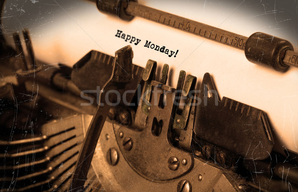 Vintage typewriter close-up - Happy monday Stock photo © michaklootwijk