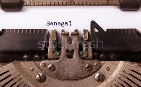 古い タイプライター セネガル 碑文 ヴィンテージ 国 ストックフォト © michaklootwijk