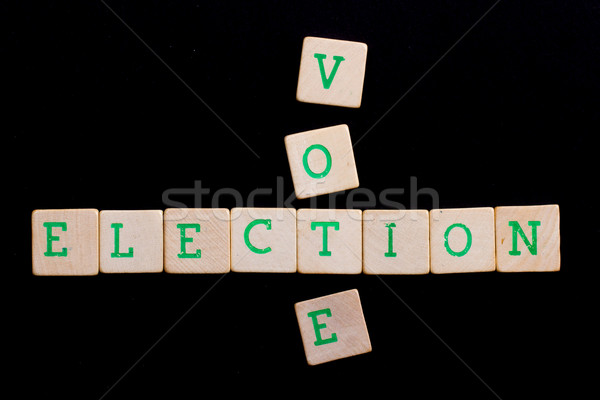 Levelek fakockák Amerika szavazás háló zöld Stock fotó © michaklootwijk