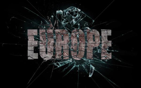 Erőszak csattanás Európa törött üveg szó textúra Stock fotó © michaklootwijk