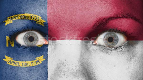 Olhos bandeira pintado cara Carolina do Norte Foto stock © michaklootwijk