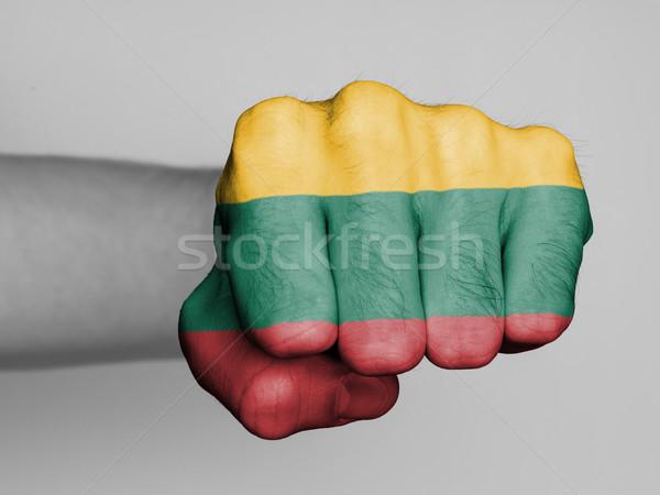 Pugno uomo bandiera Lituania mano capelli Foto d'archivio © michaklootwijk