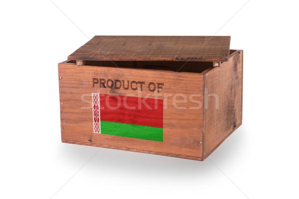 Stock fotó: Fából · készült · láda · izolált · fehér · termék · Fehéroroszország