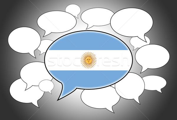 Szövegbuborékok zászló Argentína absztrakt háttér űr Stock fotó © michaklootwijk
