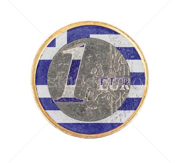 ユーロ コイン 孤立した 白 フラグ ギリシャ ストックフォト © michaklootwijk