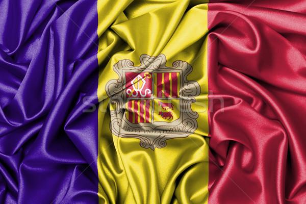Satijn vlag afgedrukt Andorra ontwerp achtergrond Stockfoto © michaklootwijk
