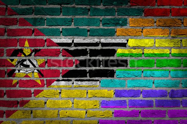 Ciemne murem prawa Mozambik tekstury banderą Zdjęcia stock © michaklootwijk