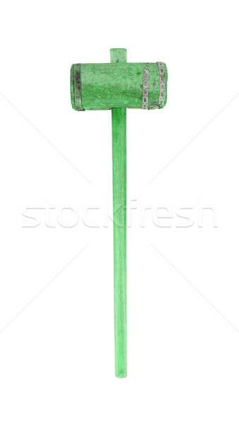 Very old wooden hammer isolated, green Stock photo © michaklootwijk