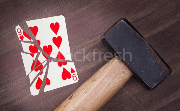 Kalapács törött kártya kilenc szívek klasszikus Stock fotó © michaklootwijk
