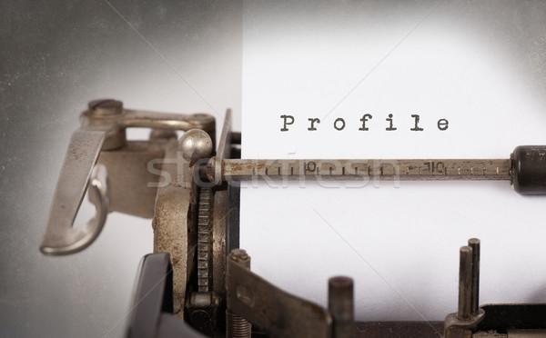 ストックフォト: ヴィンテージ · 碑文 · 古い · タイプライター · プロファイル · 紙