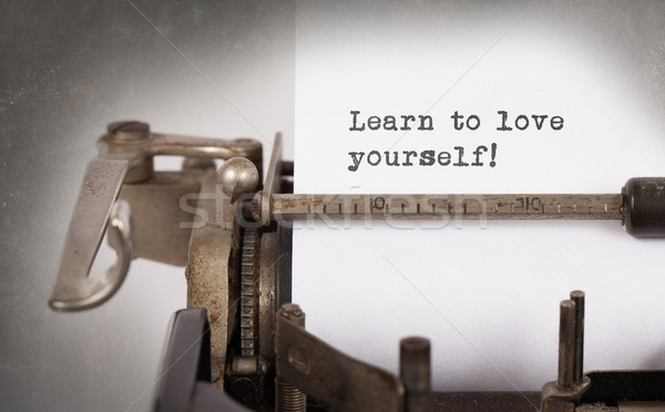 Klasszikus felirat öreg írógép tanul szeretet Stock fotó © michaklootwijk