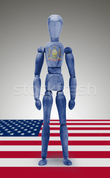 Wood figure mannequin with US state flag bodypaint - Pennsylvani Stock photo © michaklootwijk