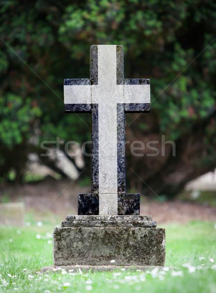 Stockfoto: Oude · grafsteen · begraafplaats · cornwall · gras · achtergrond